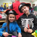 Luke and Natalie at one of the pirate activity stations.