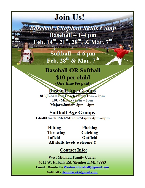 Westown BaseballSoftball And Skills Camp  Bullock Creek Schools